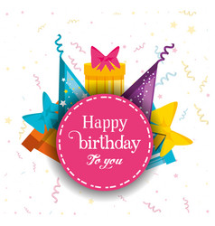 birthday gifts with hats decorative vector image