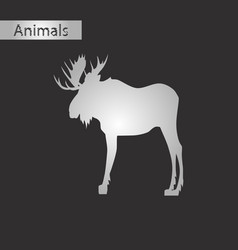 black and white style icon of elk vector image