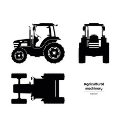black silhouette tractor side front top view vector image