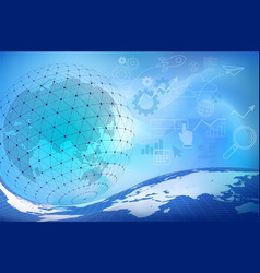 blue digital abstract background with globe vector image