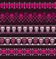 borders with pixel skulls vector image