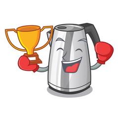 Boxing winner mascot cartoon household kitchen vector