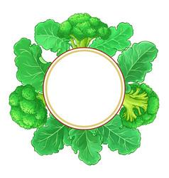 Broccoli plant frame on white background vector