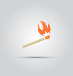 Burning match isolated colored icon vector