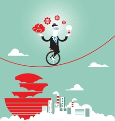 Businessman balancing on the rope with ideas vector