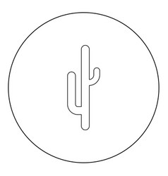 cactus black icon in circle isolated vector image