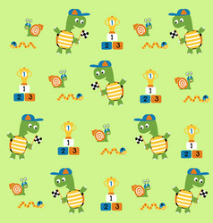 Cartoon seamless pattern with cute animals vector