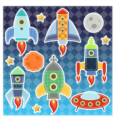 cartoon space rockets graphic moon stars vector image