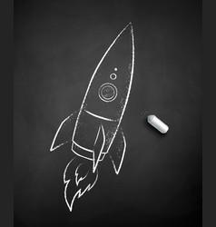 chalk drawn rocket vector image