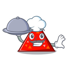 Chef with food triangel mascot cartoon style vector