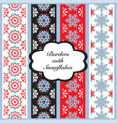 christmas set of borders with snowflakes vector image