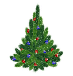 christmas tree with red and blue balls vector image
