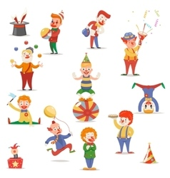 Circus Clowns Cute Funny Different Positions and vector