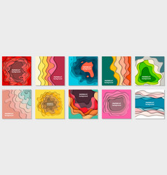 collection 10 backgrounds with colorful paper vector image