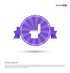 Commode toilet icon - purple ribbon banner vector