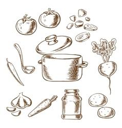 Cooking vegetarian soup with ingredients vector