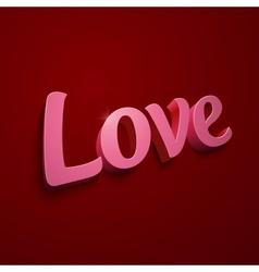Crimson realistic plastic Love sign vector image
