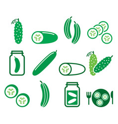 Cucumber pickled slices - healthy food vector