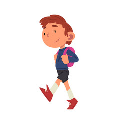 Cute boy walking at school with backpack vector