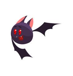 cute cartoon halloween bat character flying and vector image