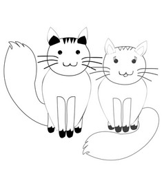 cute couple of cats in simple doodle style vector image