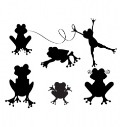cute frogs silhouette vector image