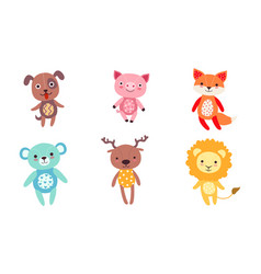 Cute toy animals collection dog pig fox bear vector