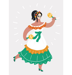 day dead traditional mexican halloween woman vector image