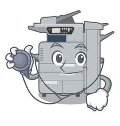 Doctor copier machine in cartoon shape vector
