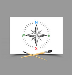 drawing world map directions on paper vector image