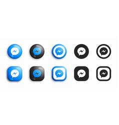 Facebook messenger modern 3d and flat icons set vector