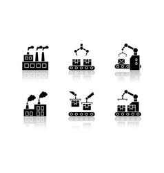Factory production drop shadow black glyph icons vector