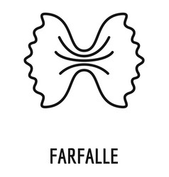 Farfalle pasta icon outline style vector