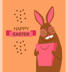 fashion easter bunny with shopping bag and glasses vector image