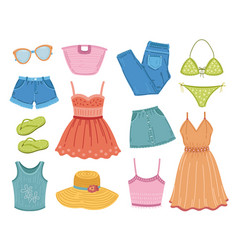 fashion summer clothes clothing clipart flat vector image