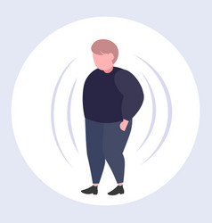 Fat obese man with big belly overweight guy vector