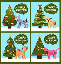 Festive cards on green merry wish puppy tree set vector