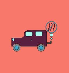 Flat icon design collection car and smoke vector
