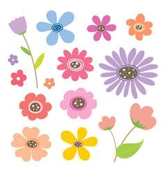 flower cartoon cute color vector image