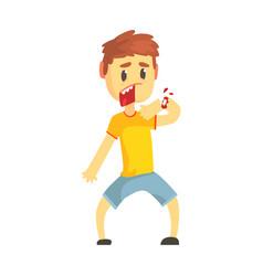 Frightened boy with broken hand with blood cartoon vector
