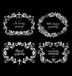Funeral flowers wreath condolence death floral rip vector