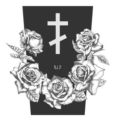 Funeral ornament concept with hand drawn roses and vector