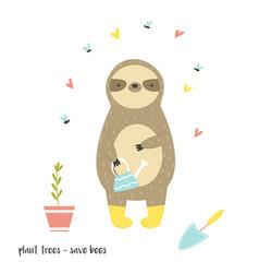Funny sloth in boots adorable cartoon animal vector