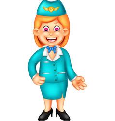 Funny stewardess in blue uniform cartoon vector