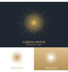 Geometric abstract round Logo Golden mandala with vector