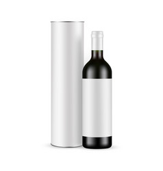 Glass wine bottle with label and paper tube mockup vector