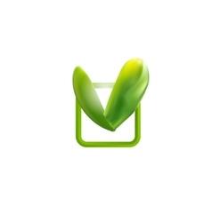 Green square check mark vector image