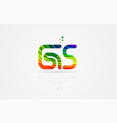 gs g s rainbow colored alphabet letter logo vector image