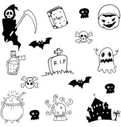 Halloween hand draw doodle set vector image