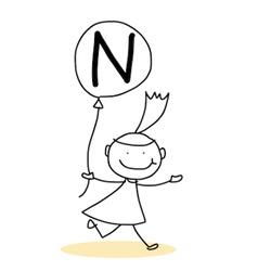 hand drawing cartoon character happiness alphabet vector image